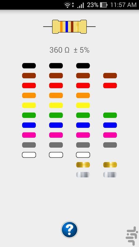 کد رنگ مقاومت - عکس برنامه موبایلی اندروید