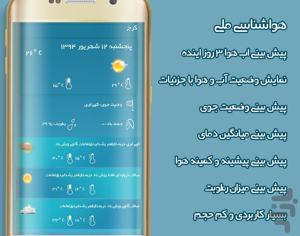 هواشناسی ملی - Image screenshot of android app