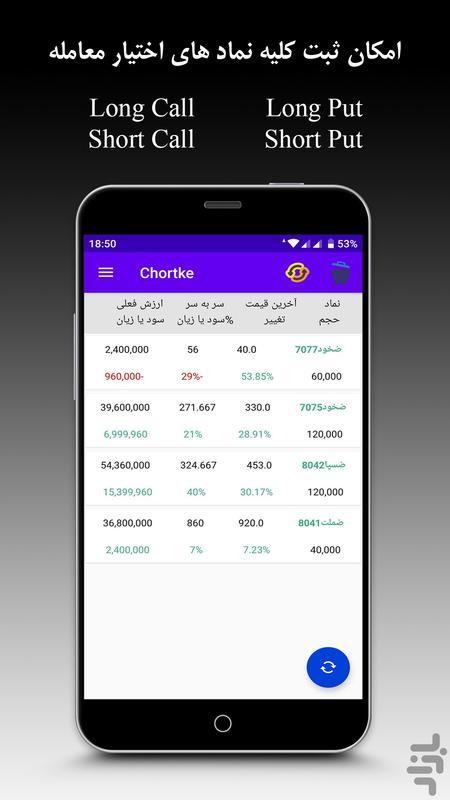 چرتکه اختیار معامله - عکس برنامه موبایلی اندروید