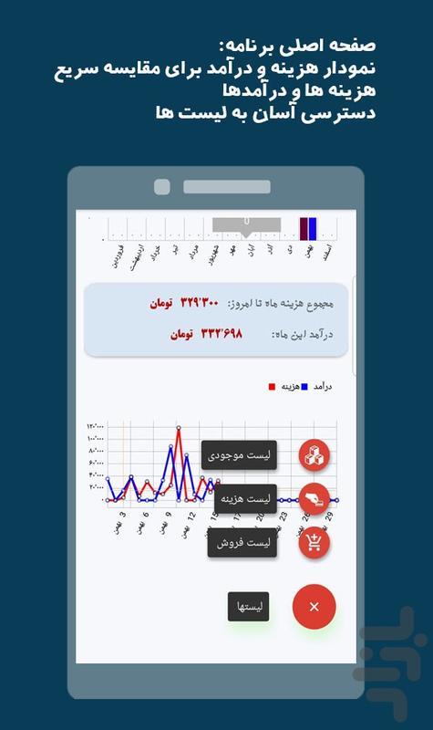 دَستَک - حسابدار کسب و کار و شخصی - عکس برنامه موبایلی اندروید