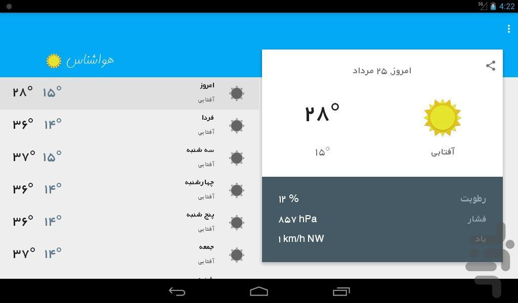 هواشناسی کل ایران - عکس برنامه موبایلی اندروید