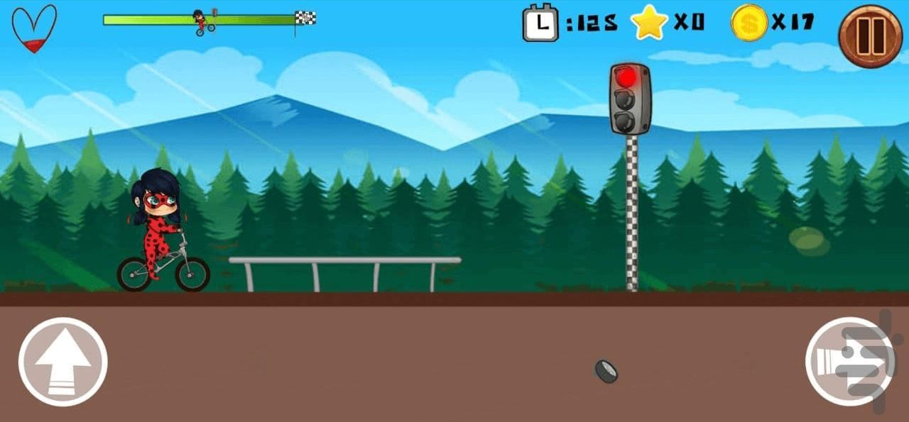 دوچرخه سواری دختر کفشدوزکی - عکس بازی موبایلی اندروید