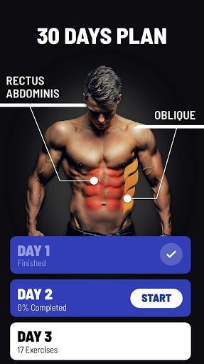 شکم شش تکه در ۳۰ روز - تمرینهای Abs - عکس برنامه موبایلی اندروید
